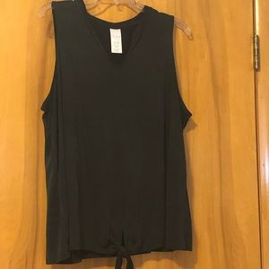 Time and Tru Charcoal Tunic Tank Tiefront Sz 16-18
